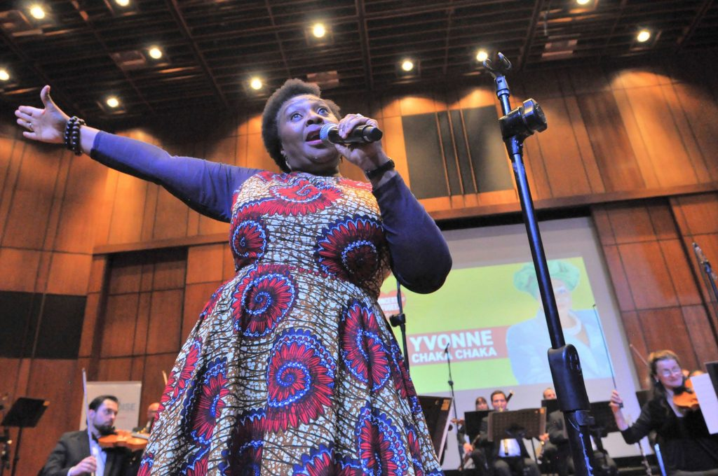 JOHANNESBURG, SOUTH AFRICA - JUNE 21:Yvonne Chaka Chaka during the World Refugee Day commemoration concert held at Linder Auditorium on June 21, 2019 in Johannesburg, South Africa. The event, which is South Africa?s first concert for refugees, being held to mark the United Nations' World Refugee Day which was on June 20, also highlights the plight of refugees in the country. (Photo by Gallo Images/Laird Forbes)