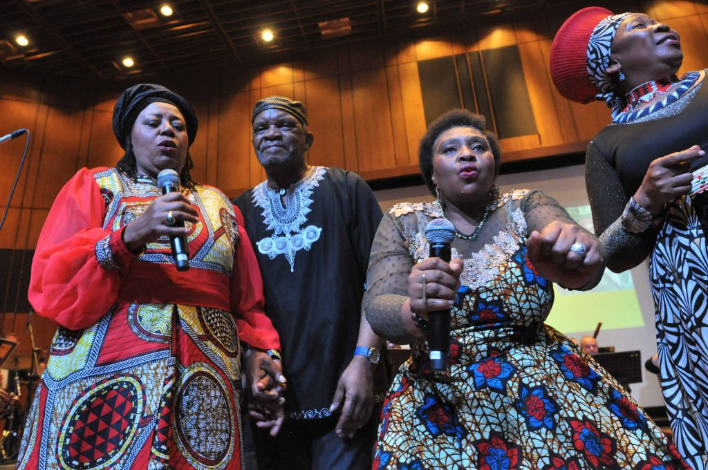 JOHANNESBURG, SOUTH AFRICA - JUNE 21: Sibongile Khumalo (left), Pops Mohamed, Yvonne Chaka Chaka and Gcina Mhlope X during the World Refugee Day commemoration concert held at Linder Auditorium on June 21, 2019 in Johannesburg, South Africa. The event, which is South Africa?s first concert for refugees, being held to mark the United Nations' World Refugee Day which was on June 20, also highlights the plight of refugees in the country. (Photo by Gallo Images/Laird Forbes)