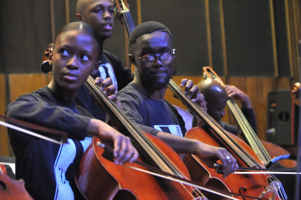 JOHANNESBURG, SOUTH AFRICA - JUNE 21:Buskaid Soweto String Project during the World Refugee Day commemoration concert held at Linder Auditorium on June 21, 2019 in Johannesburg, South Africa. The event, which is South Africa?s first concert for refugees, being held to mark the United Nations' World Refugee Day which was on June 20, also highlights the plight of refugees in the country. (Photo by Gallo Images/Laird Forbes)